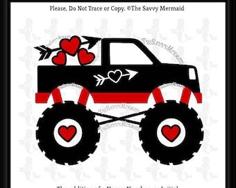 Valentine Truck SVG- Boy Valentines SVG- Boys Valentines Day Svg- Valentines Monster Truck Svg- Valentine DXF Silhouette- Cricut- Iron on