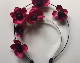 Fascinator - Berry Red Flower Halo Crown