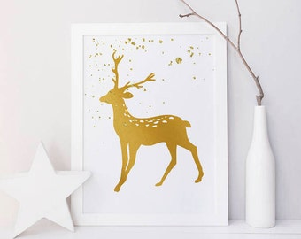 Christmas decorations, Wall art print, Christmas print, Holiday printables, Reindeer, Gold, Glitter, Snow, Party decor, Party printable