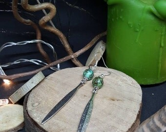 Green Seeds - Palm tree seeds - journal - nature - Bohemian earrings