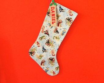 Christmas stocking, personalised Christmas stocking, cute dogs fabric, Xmas fabric with labradors, Christmas decoration, Christmas gift