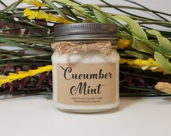 Aromatherapy Candles - 8oz Soy Candles Handmade  - Hostess Gift - Rustic Candles - Mom Birthday - Cucumber Mint - Coworker Gift - Thank You