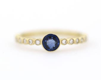 Blue Sapphire Diamond Ring, Unique Blue Sapphire Ring, Diamond Ring, Half Eternity Blue Sapphire Band