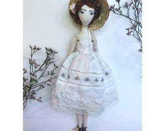 CHARLOTTE Collectible Handmade Fabric Art Doll OOAK Textile soft Sculpture
