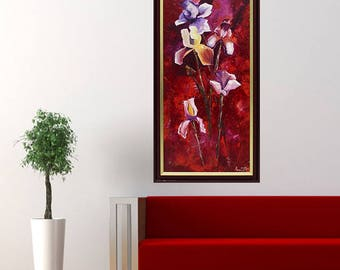 Ireses Flowers Oil painting framed art present Gift for Her valentine's day gallery wrapped original painting sale red on canvas