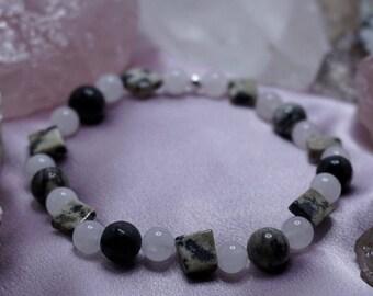 Rose Quartz, Dalmation, and Spiderweb Jasper Beaded Stretch Bracelet with Sterling Silver, Natural Gemstones!     (J#40)