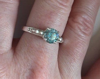 Moissanite ring, blue green moissanite, silver ring, solitaire ring, colored moissanite ring, ethical ring, conflict free engagement ring
