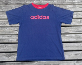 Vintage 90's Adidas red and blue distressed t-shirt MADE IN CANADA Medium Sized