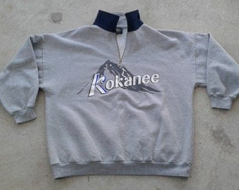 "Vintage 80's / 90's Kokanee Beer ""Columbia Brewery"" Grey Pullover Sweatshirt Made in Canada XL"