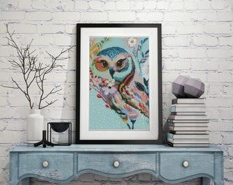 Owl cross stitch pattern modern, colorful floral owl pattern PDF, modern flowers cross stitch, watercolor bird instant download
