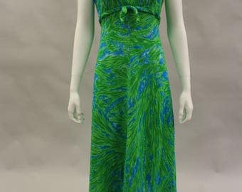 Vintage Green and Blue Empire Waist Maxi Dress by Harry Keiser | Tiki Party | Bow Front| Size Medium 10 | Beach Dress | Summer Dress| 1960