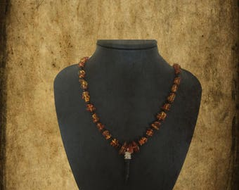 Witchcraft Amber and Jet Necklace