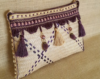 Straw Bag, African style clutch bag, Woven pouch