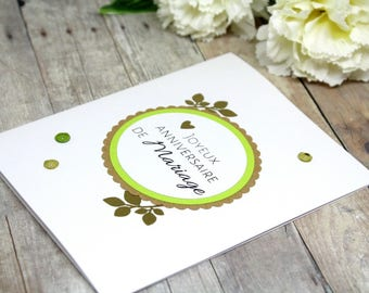 Handmade French Happy Anniversary Card - Anniversary Card in French - Anniversaire de Mariage Card - Hand stamped green gold embossed card