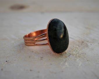 Gemstone Statement Ring ;Copper Plated Brass Adjustable Ring ; Russian Serpentine Gemstone Ring