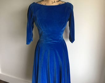 1940s velvet dress | royal blue