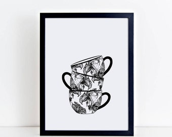 Tea Print, Wall Art, Kitchen Print, Tea Cup, Tea Mug, Roses, Floral Art, Gift for Women, Cafe, Coffee Art, Coffee Print, Vintage teacup