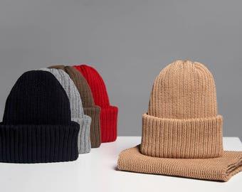 Beige beanie, sand beanie hat, pale brown merino beanie hat