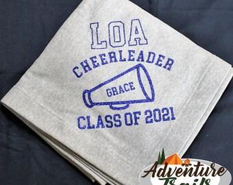 Cheer Class of Blanket, school blanket, cheerleading, cheerleading gift, cheer gift, sweatshirt blanket, cheer leading blanket