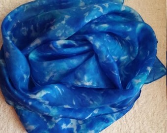 Beautiful blue silk scarf, Handmade, hand-painted unique wearableart, Mens scarf, Women's Silk Scarf, Luxurious Silk Scarf/Shawl/Wrap/Sarong