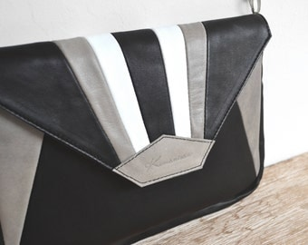 "Leather with black, grey and white ""MADU"" shoulder bag"