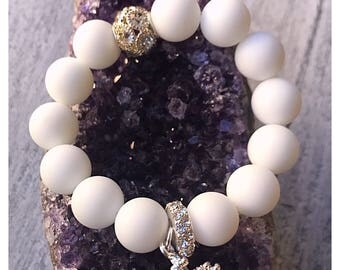 Queen of Hearts white matte Agate 12mm beads and crown charm.