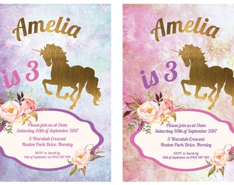 Unicorn Invitation | Unicorn Party | Unicorn Birthday Invitation | 3rd Birthday Invitation | Girl Birthday Invitation | 1st, 2nd, 4th, 5th