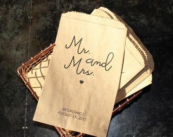 Wedding Popcorn Bags - Mr. and Mrs.