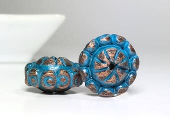 Blue Copper Textured Polymer Clay Beads, Aqua Rondelle Beads With Copper Dots, Handmade Beads For Jewelry, Beads For Earrings, Boho Beads