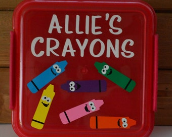 Personalized Kid's Crayon Storage Box! Kids Crayon Box! Custom Kids Crayon Container! School Classroom Crayon Boxes! Your choice of colors!