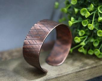 """Hammered Copper Cuff, 1"""" Wide"""