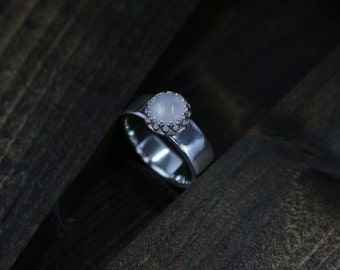 Rainbow Moonstone Solitaire Ring, Sterling Silver, 7mm Band