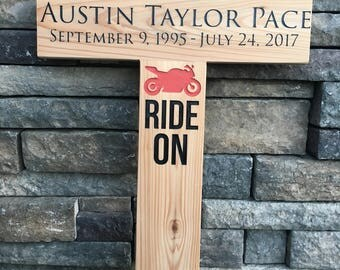 Custom Wooden Cross Roadside Marker -Engraved Wooden Cross - Mahogany Memorial Cross - Rest In Peace - Honor a Loved One