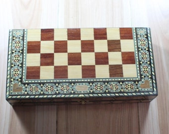 Wooden chess and backgammon from mosaic - small