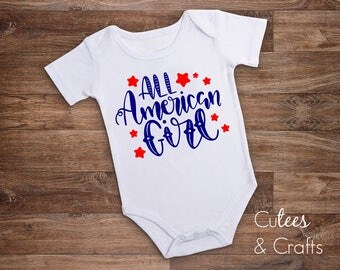 All American Girl baby tee // Fourth of July baby bodysuit