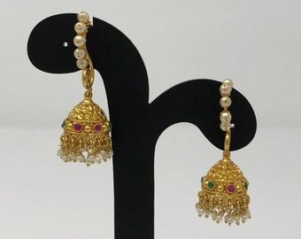 Temple Jhumki Earrings - Jhumki Jhumka Earrings - Temple Earrings - Temple Jewelry - Indian Earrings - Indian Jewelry - Bollywood Jewelry