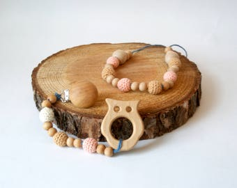Mother and Daughter Teething Set, Baby Shower Gift, Mom and Baby Gift Set, Wood Teething Necklace, Teething Clip, Teething Necklace for Mom