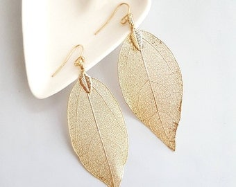 Gold Plated Leaf Earrings, Gold Leaf Dangle Earrings, Gold Leaf Earrings, Leaf Dangle Earrings, Fine Leaf Earrings, Boho Style Earrings
