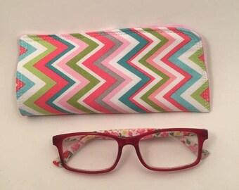 Eyeglass Case, Chevron, Fabric Eyeglass Case, Case for Sunglasses,  Case for Glasses, Gift for Her, Stocking Stuffer,  L Miller Creations