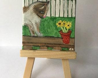 Garden Cat Mini Canvas Painting