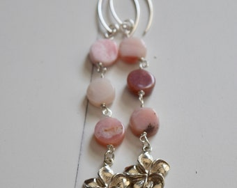 Peruvian Opals and Plumeria Earrings~ Sterling Silver and Stone Earrings~ Long Dangling Earrings~