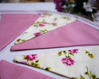 shabby chic bunting, flower bunting, vintage bunting, pink bunting, rose bunting, cottage chic, high tea, double sided bunting,baby shower,