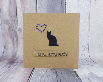 Cat thank you card, Handmade thanks card, Cat sitter card, Card for the Vet, Pun card, Animal card, Pet sitter, Veterinarian, From the cat