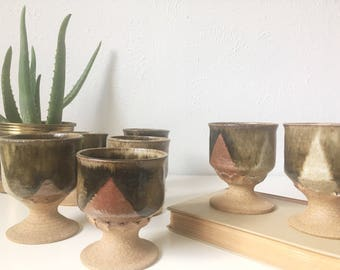 Wonderful Vintage Handmade Ceramic Goblets + Signed Set Of 7 + Kitchen Pottery +  Rustic Natural Earthenware