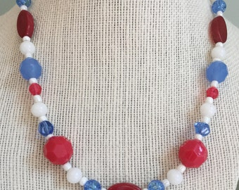 """Upcycled Jewelry -  """"Gender Reveal Party"""" Beaded Necklace - Made with Vintage and New Materials"""
