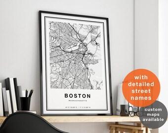 Boston Map, Boston City Map, Boston Print, Boston Poster, Map Of Boston, Boston Street Map, Boston Printable Map, Boston Art Boston Wall Art