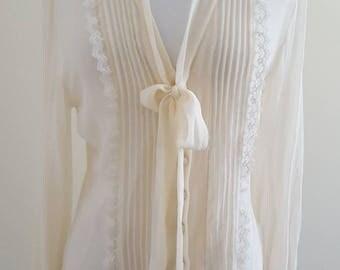 TALULA BABATON Silk Ruffle & Lace Blouse
