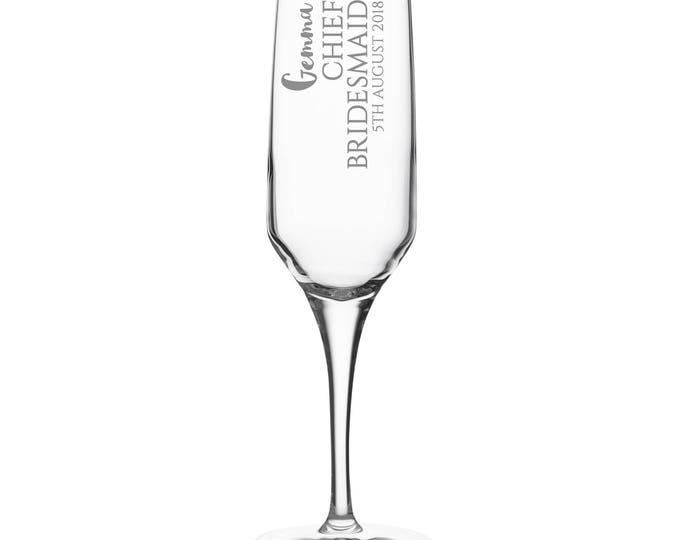 Engraved CHIEF BRIDESMAID champagne prosecco flute glass gift, personalised wedding crystal wine flute - DHC-BP3