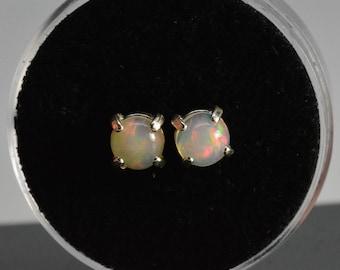 Natural opal earrings - sterling silver,6mm cabochons,october birthstone,opal earrings studs,opal earrings silver,october birthstone