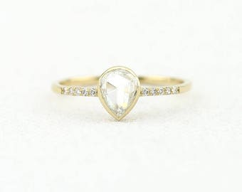 Rose Cut Diamond Ring / Rose Cut Diamond Engagement Ring in 14k Gold / Unique Engagement Ring with Rose Cut 0.58ctw